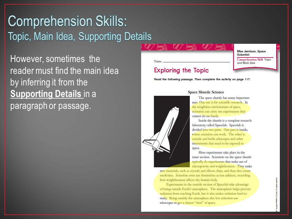 Comprehension Skills: Topic, Main Idea, Supporting Details