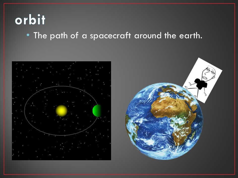 orbit The path of a spacecraft around the earth.