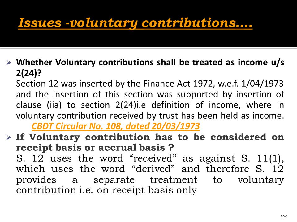 Issues -voluntary contributions….