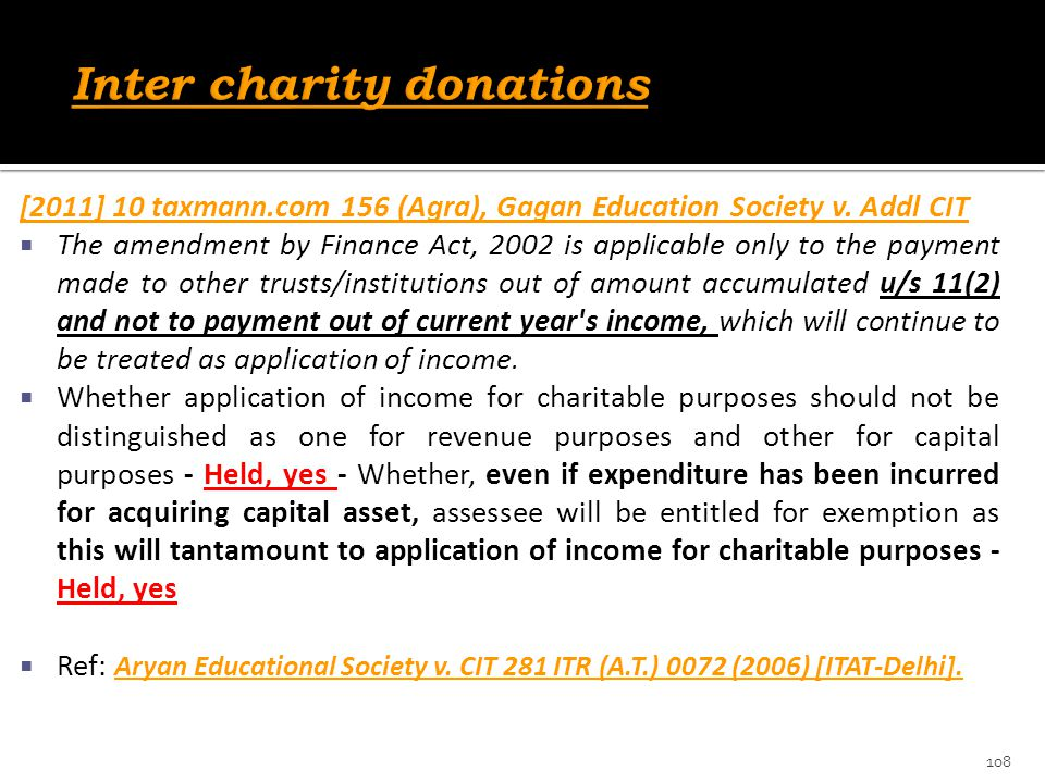 Inter charity donations