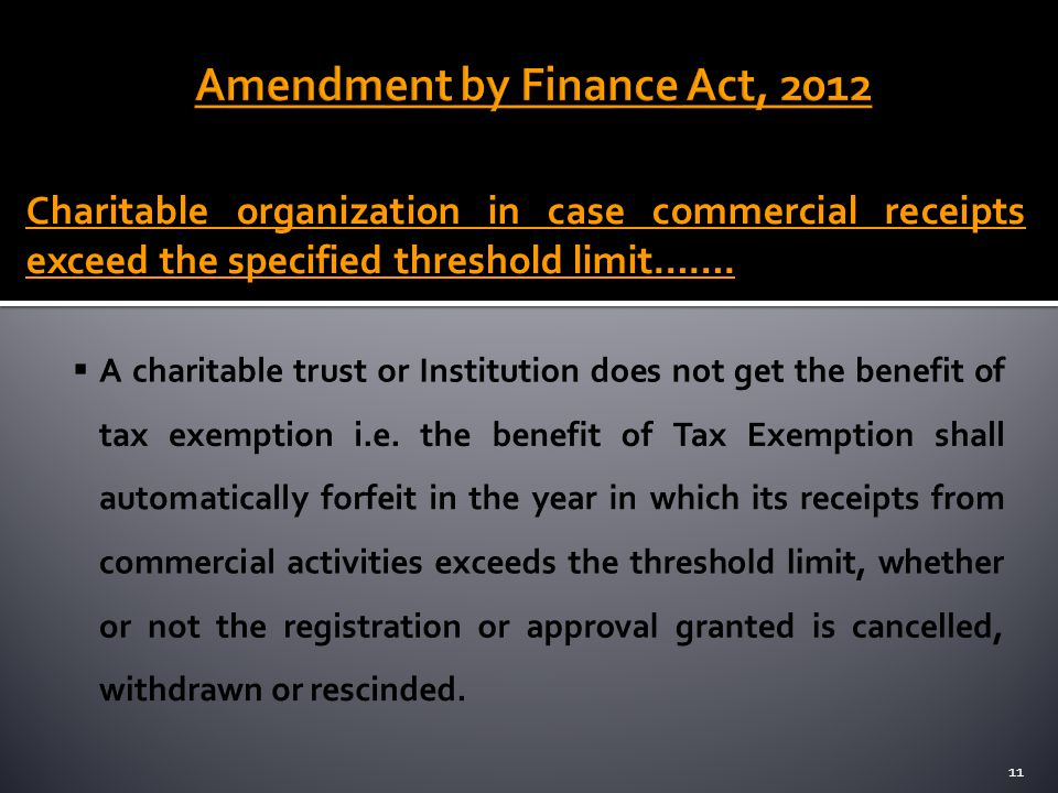 Amendment by Finance Act, 2012