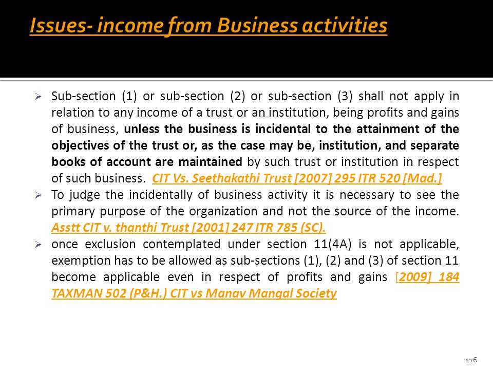 Issues- income from Business activities