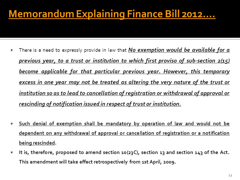 Memorandum Explaining Finance Bill 2012….