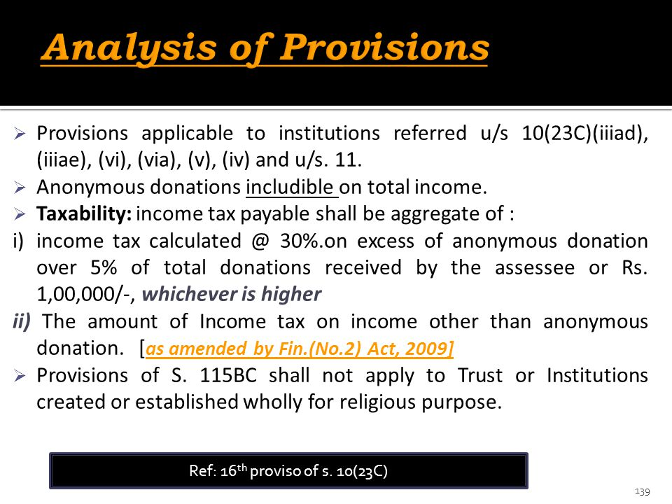 Analysis of Provisions