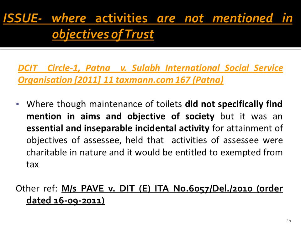 ISSUE- where activities are not mentioned in objectives of Trust