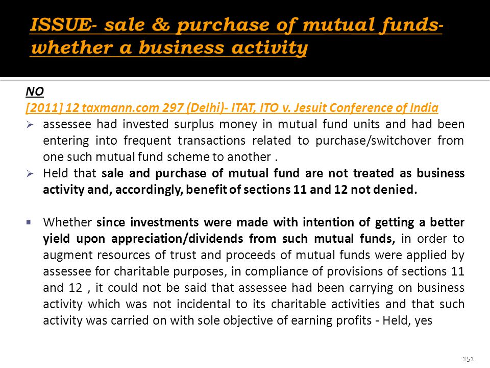 ISSUE- sale & purchase of mutual funds- whether a business activity
