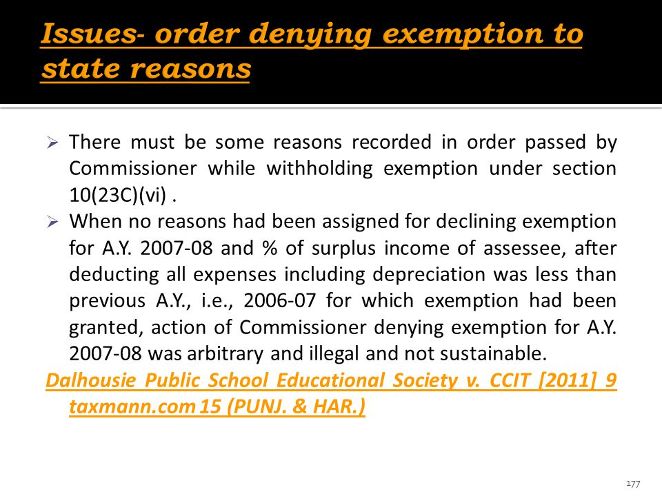 Issues- order denying exemption to state reasons