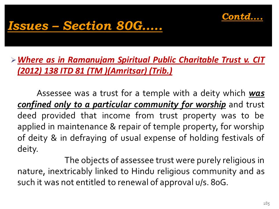 Issues – Section 80G….. Contd….