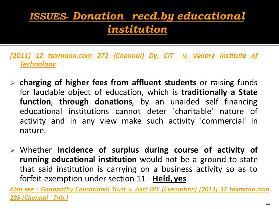 ISSUES- Donation recd.by educational institution