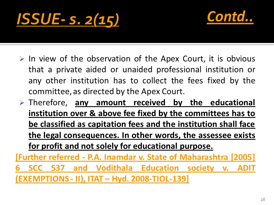 Contd.. ISSUE- s. 2(15)