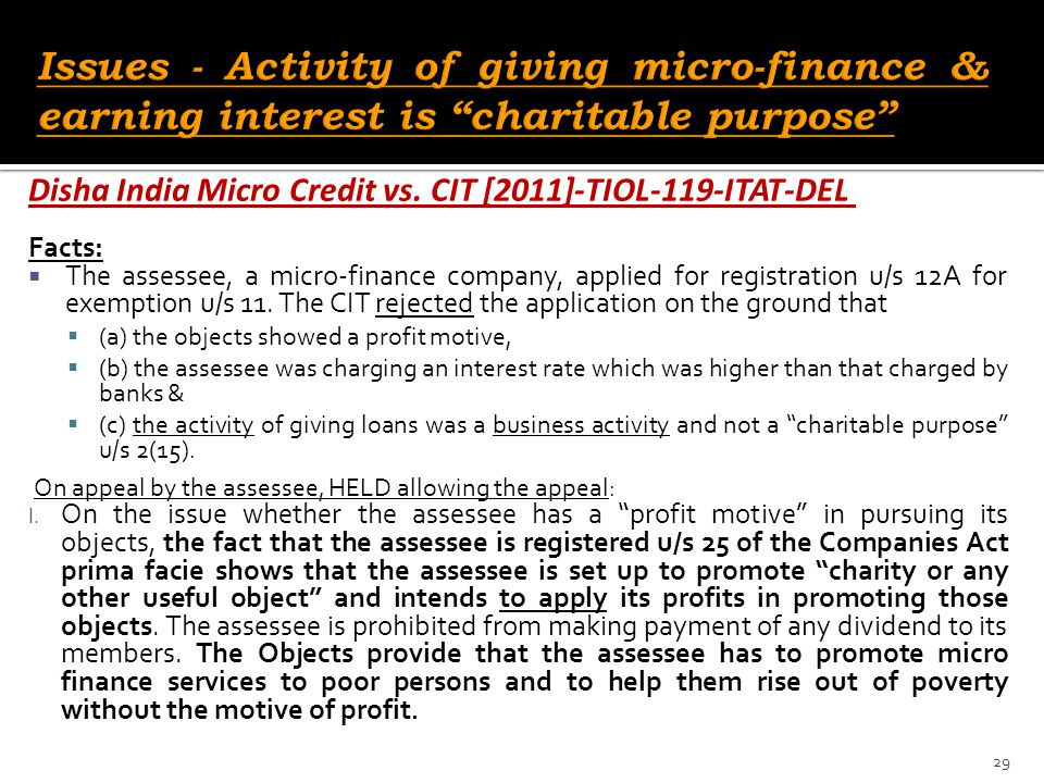 Issues - Activity of giving micro-finance & earning interest is charitable purpose