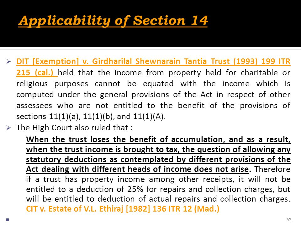 Applicability of Section 14