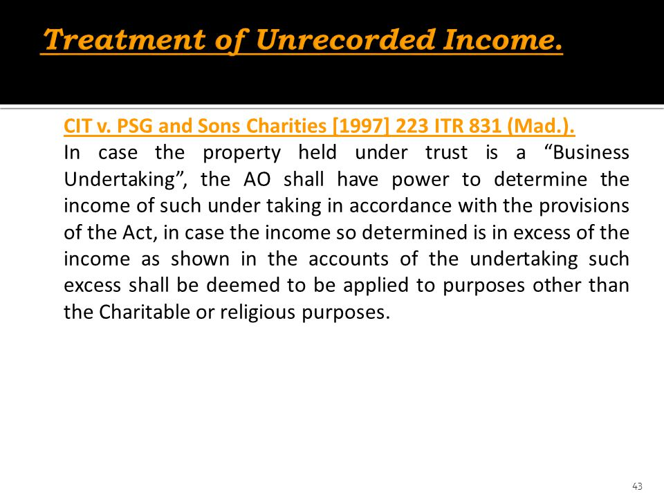 Treatment of Unrecorded Income.