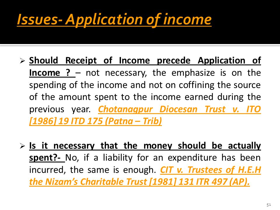 Issues- Application of income
