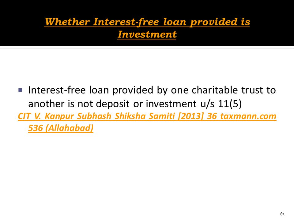 Whether Interest-free loan provided is Investment