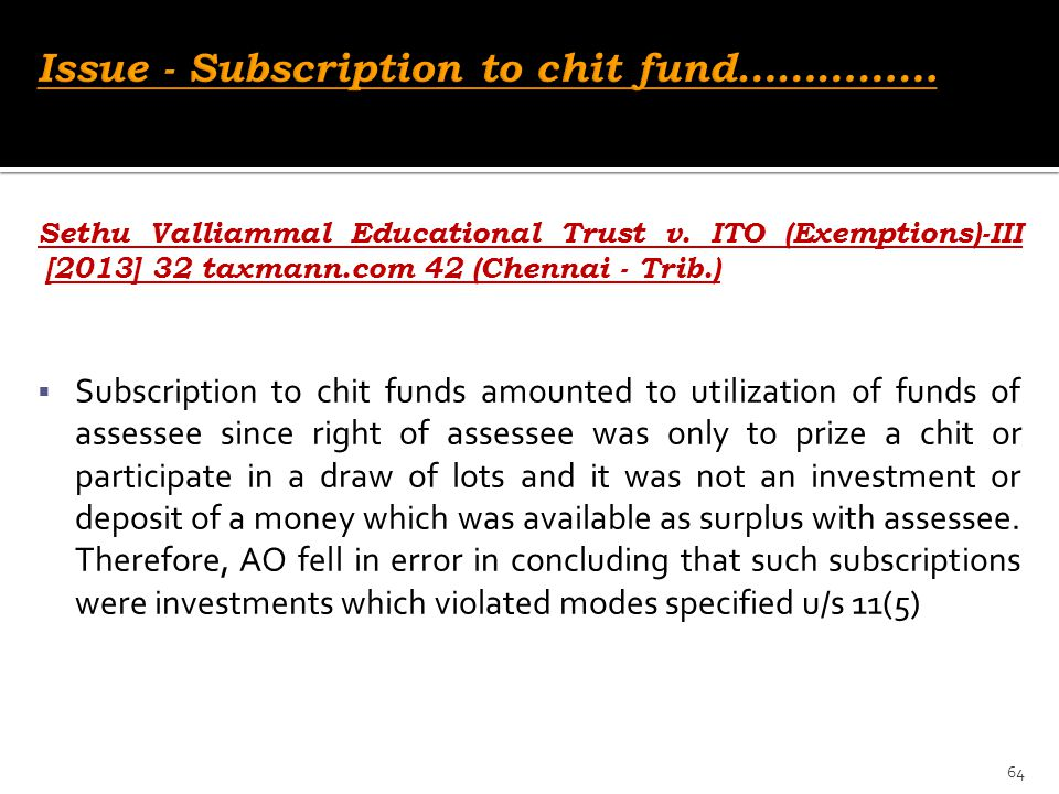 Issue - Subscription to chit fund……………