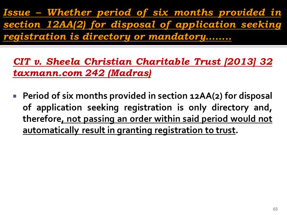 Issue – Whether period of six months provided in section 12AA(2) for disposal of application seeking registration is directory or mandatory……..