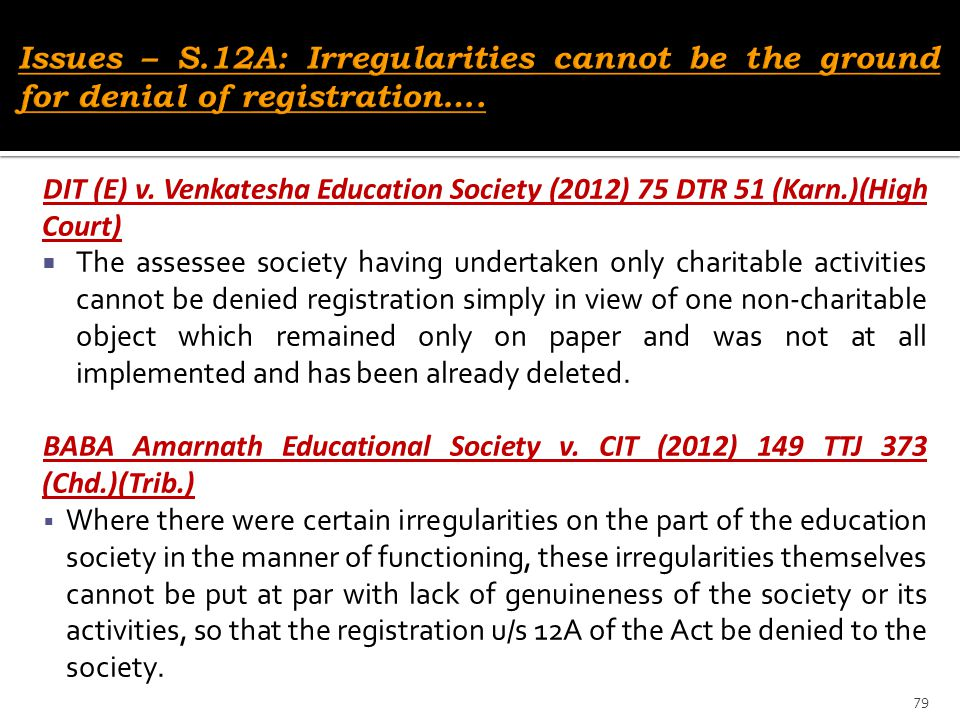 Issues – S.12A: Irregularities cannot be the ground for denial of registration….