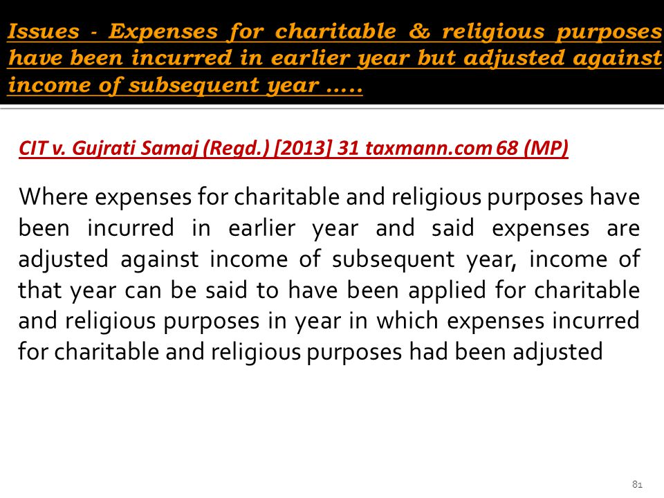 Issues - Expenses for charitable & religious purposes have been incurred in earlier year but adjusted against income of subsequent year …..