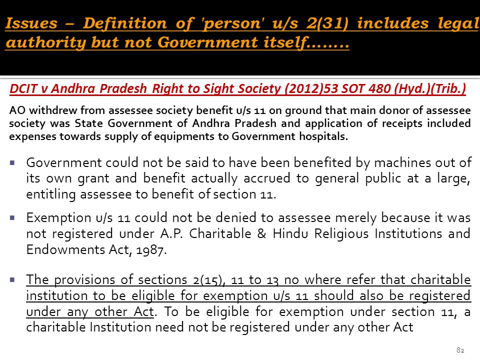 Issues – Definition of person u/s 2(31) includes legal authority but not Government itself……..