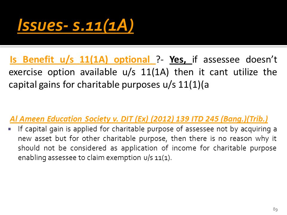 Issues- s.11(1A)