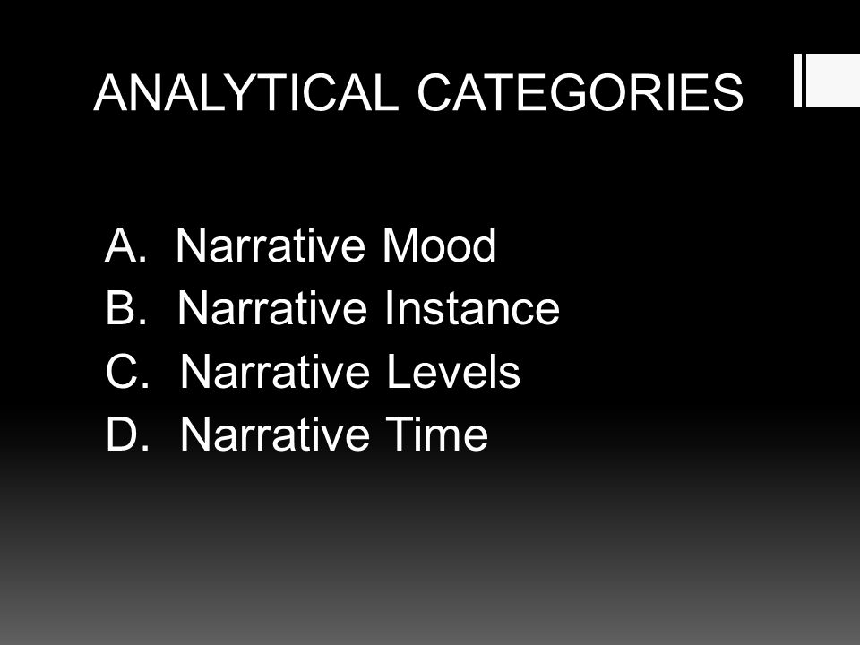 ANALYTICAL CATEGORIES