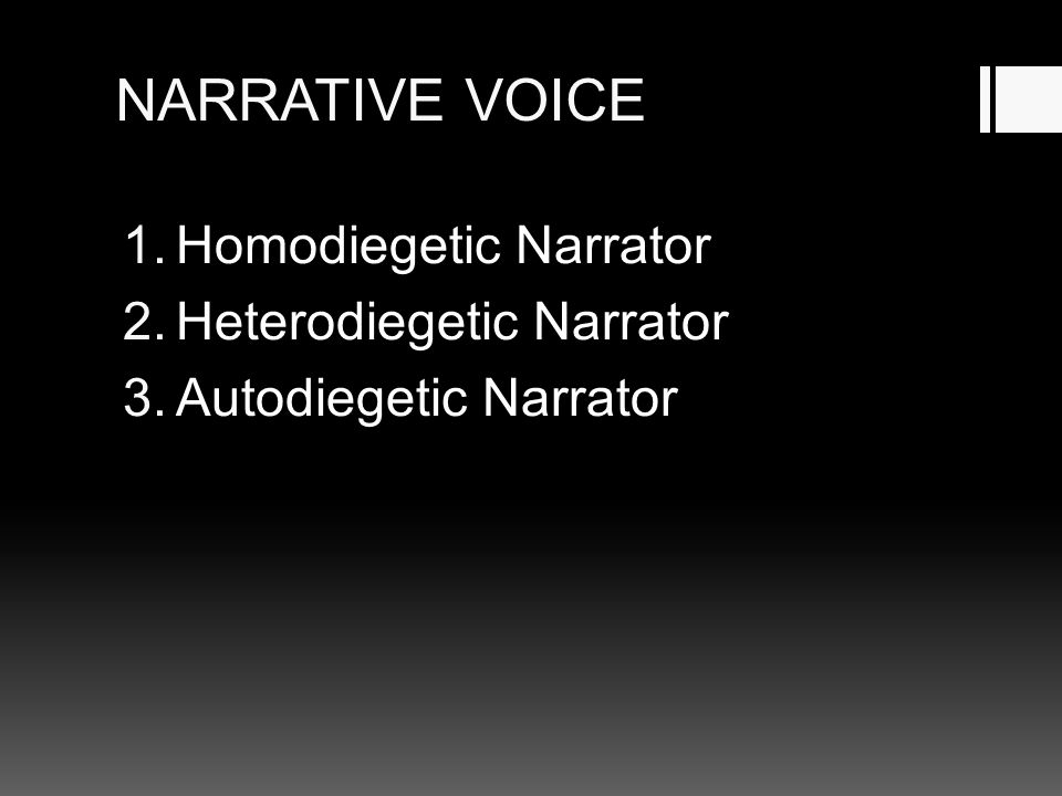 NARRATIVE VOICE Homodiegetic Narrator Heterodiegetic Narrator