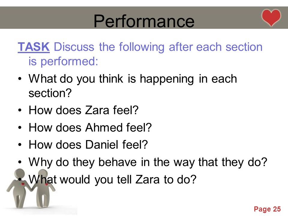 Performance TASK Discuss the following after each section is performed: What do you think is happening in each section