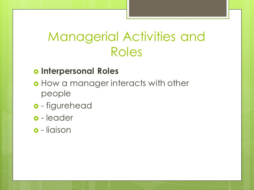 Managerial Activities and Roles
