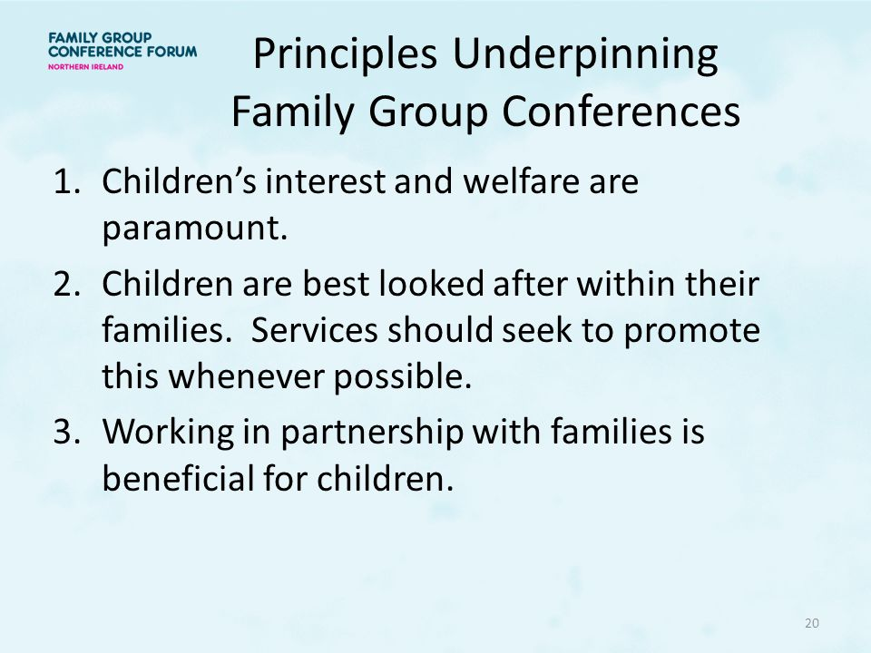 Principles Underpinning Family Group Conferences