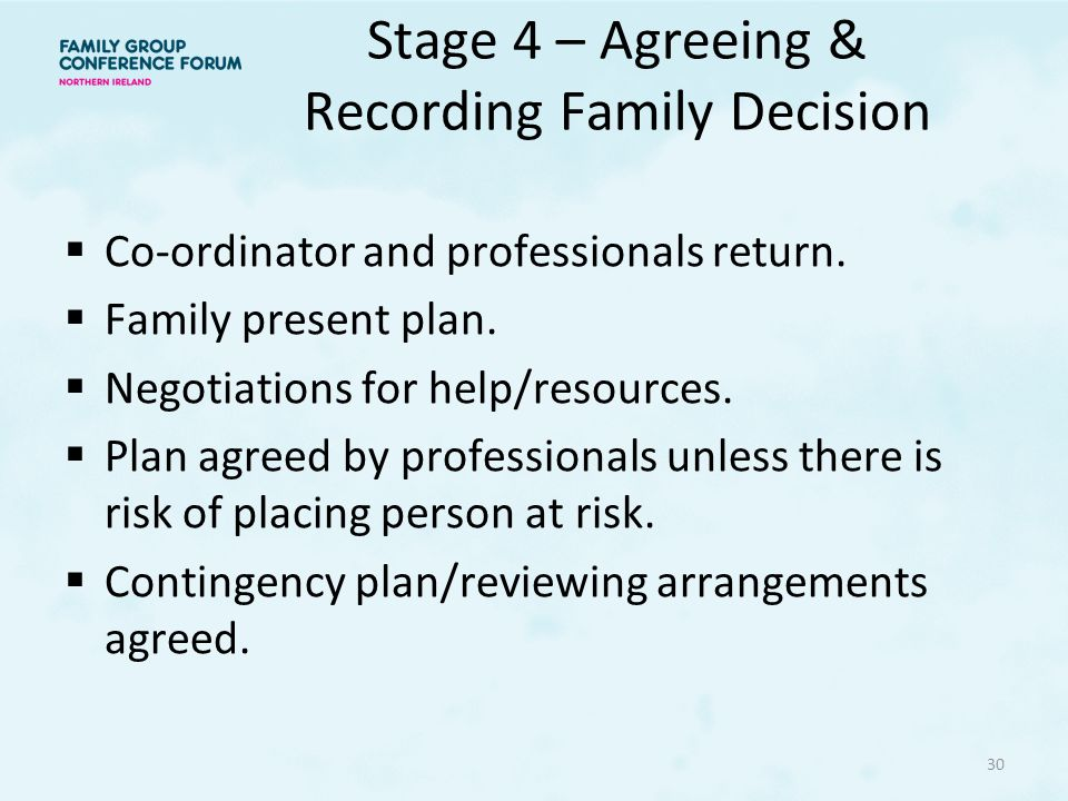 Stage 4 – Agreeing & Recording Family Decision