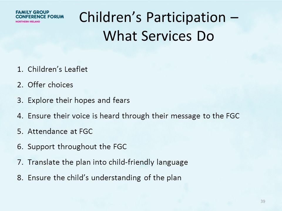Children's Participation – What Services Do