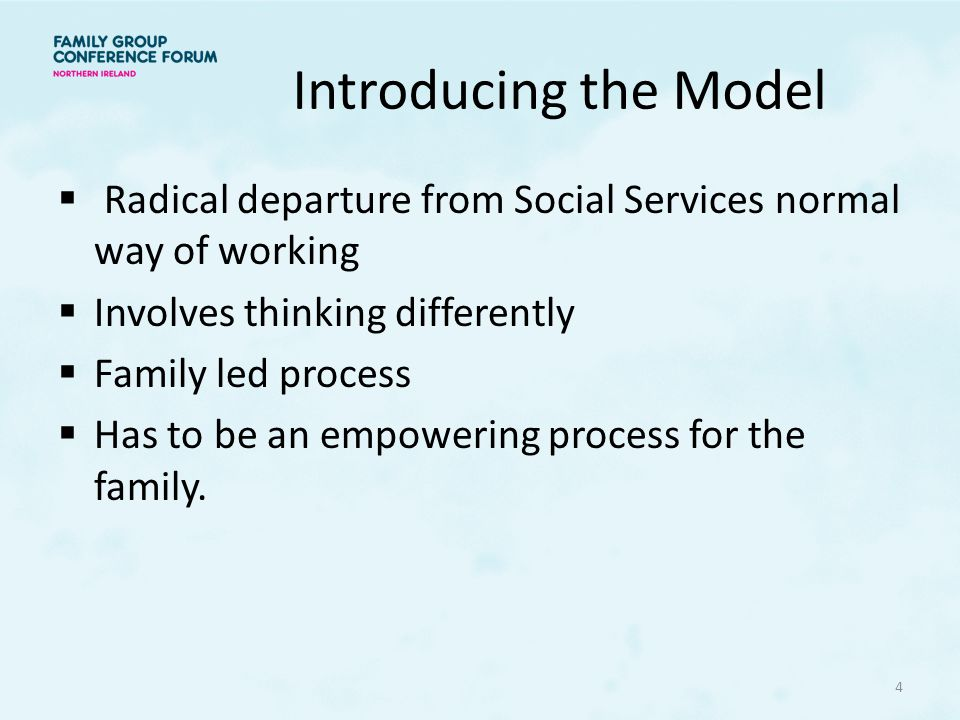 Introducing the Model Radical departure from Social Services normal way of working. Involves thinking differently.