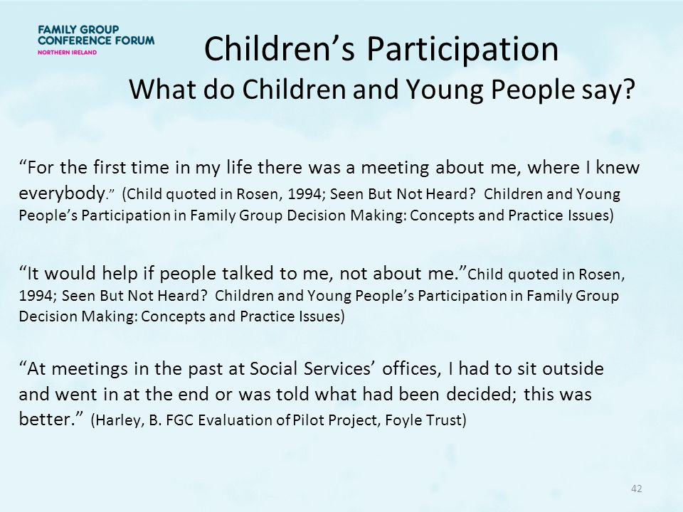 Children's Participation What do Children and Young People say