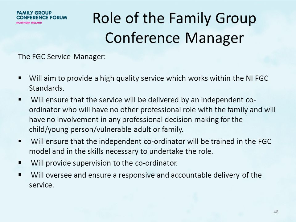 Role of the Family Group Conference Manager