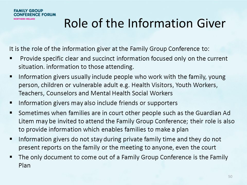 Role of the Information Giver