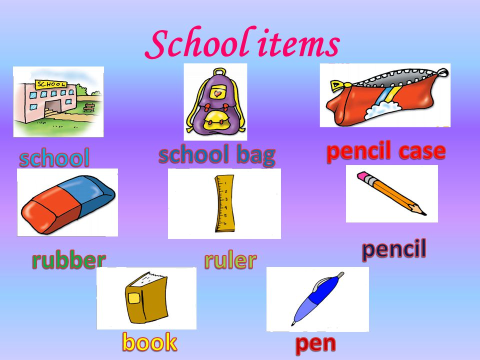 School items pencil case school bag school pencil rubber ruler book
