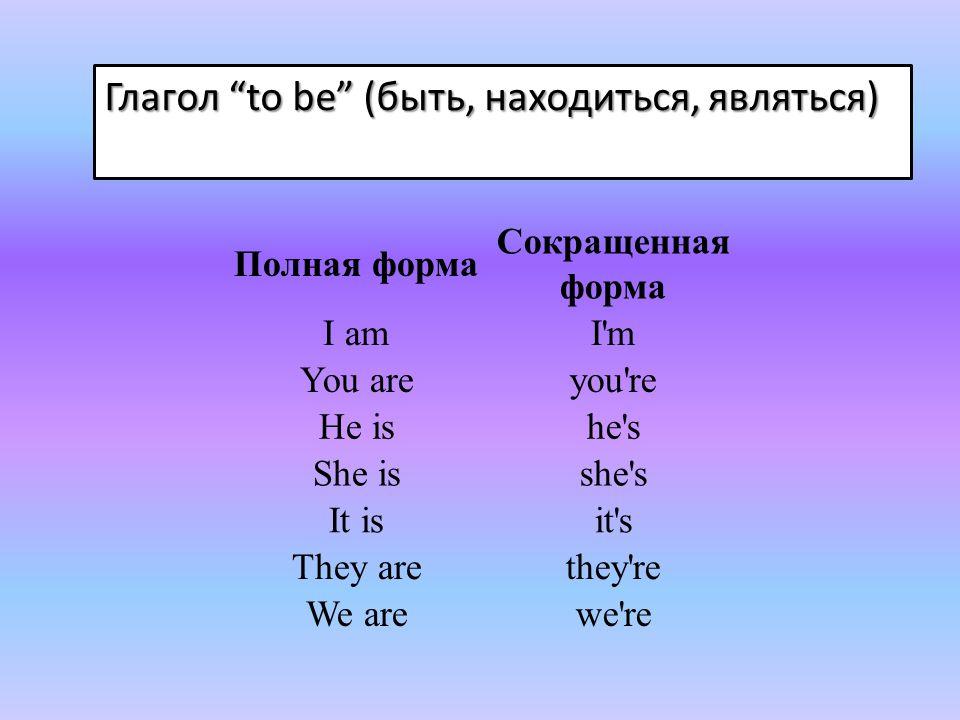 Глагол to be (быть, находиться, являться)