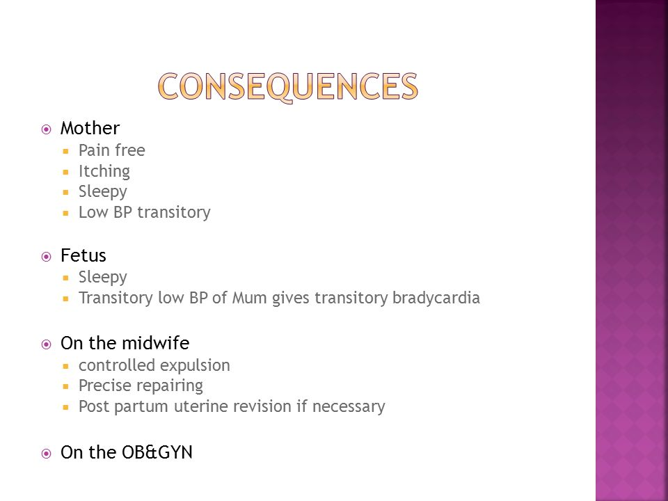 Consequences Mother Fetus On the midwife On the OB&GYN Pain free