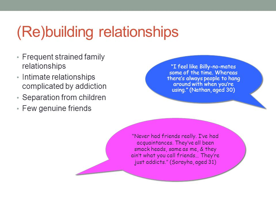(Re)building relationships