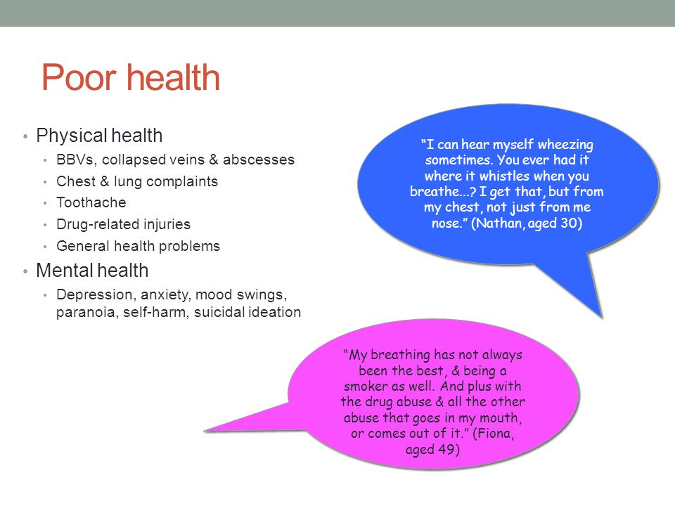 Poor health Physical health Mental health
