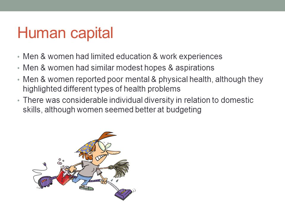 Human capital Men & women had limited education & work experiences
