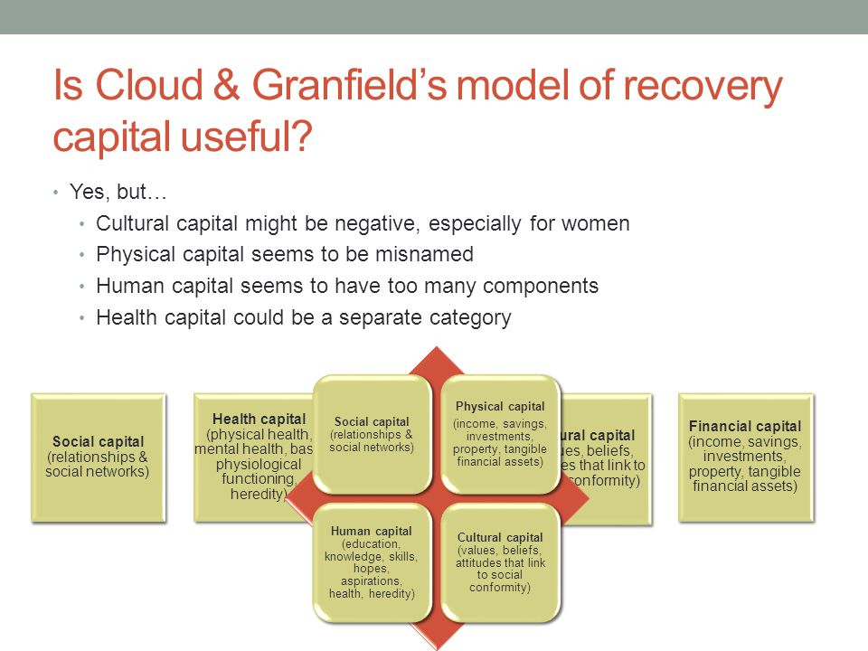 Is Cloud & Granfield's model of recovery capital useful