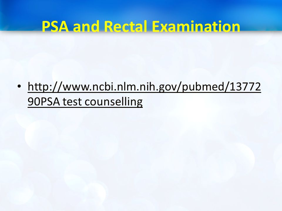 PSA and Rectal Examination