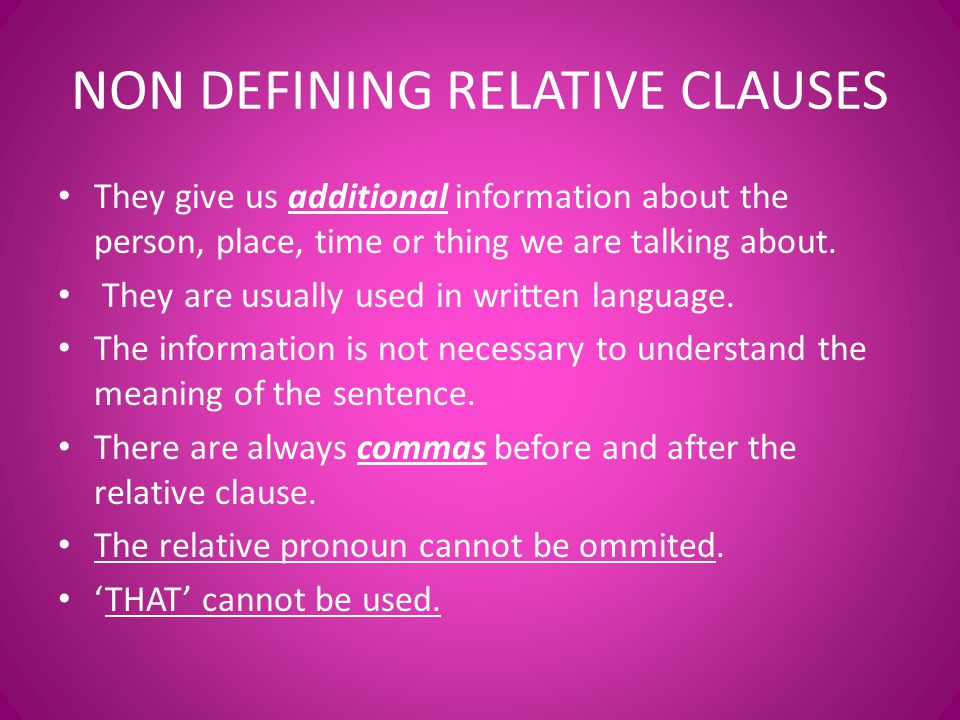 non defining relative clauses