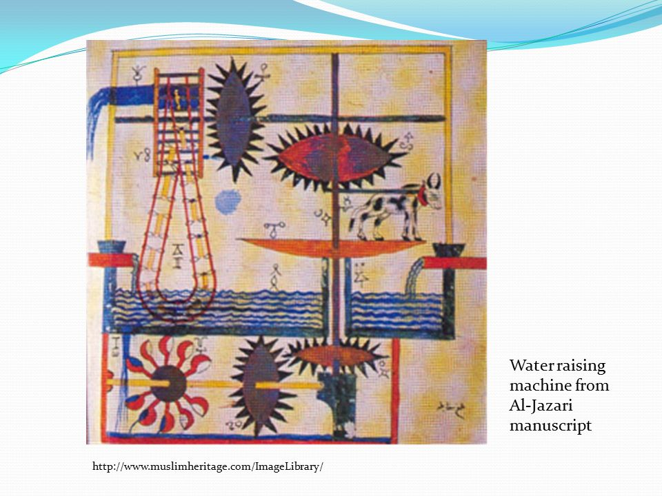 Water raising machine from Al-Jazari manuscript