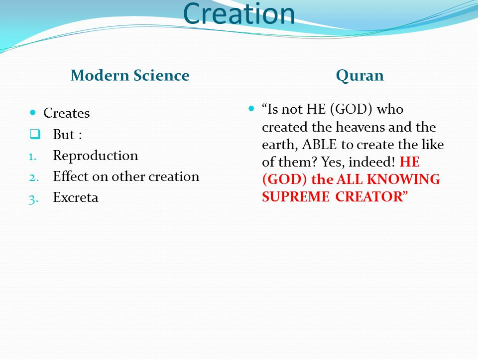 Creation Modern Science Quran