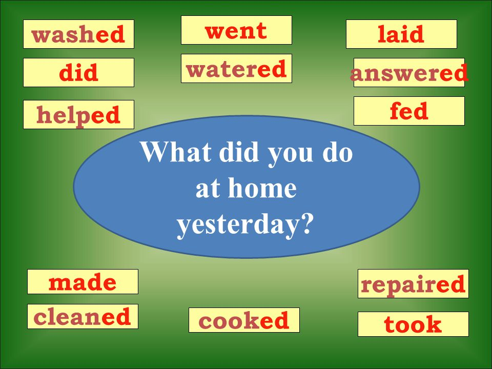 What did you do at home yesterday