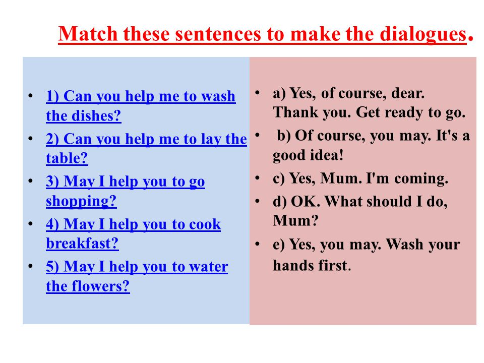 Match these sentences to make the dialogues.