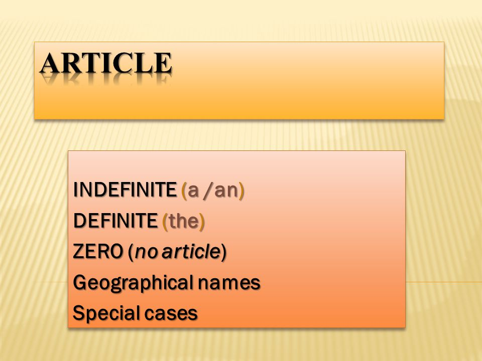 article indefinite a an definite the zero no article ppt